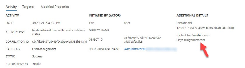 Azure AD audit records for the reissued invitation