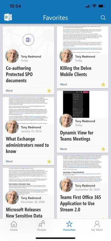 Favorite documents in the Delve for iOS app