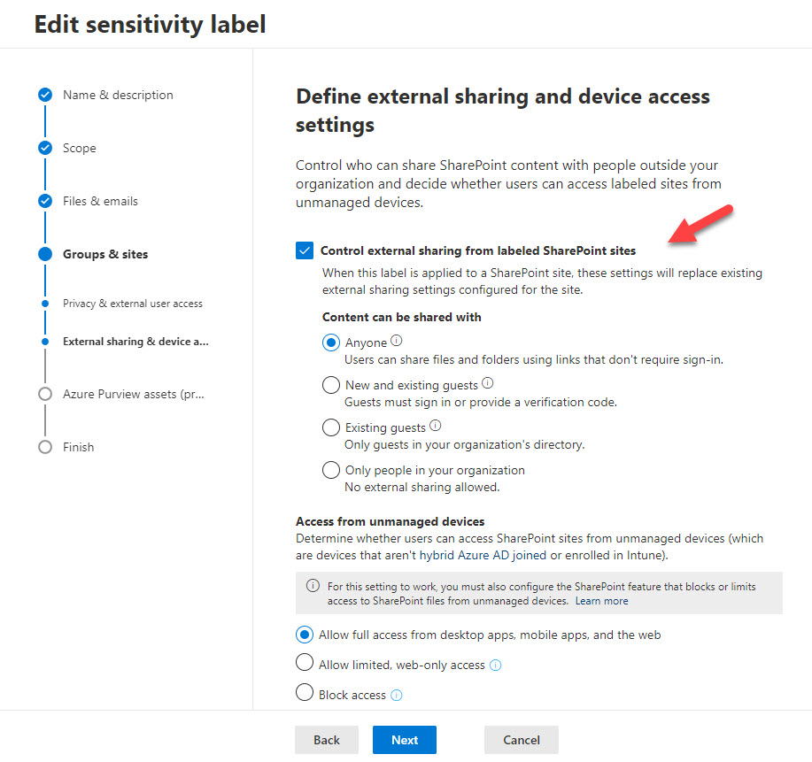 How Sensitivity Labels Control the Sharing Capability of SharePoint Online Sites