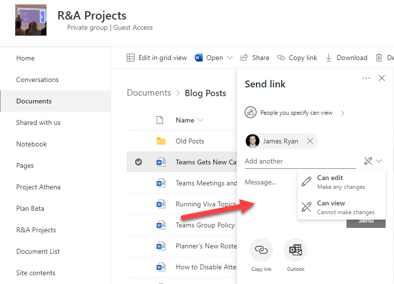 Deciding if the recipient of a sharing link can edit the shared file