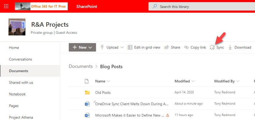 Opting to synchronize a SharePoint Online folder