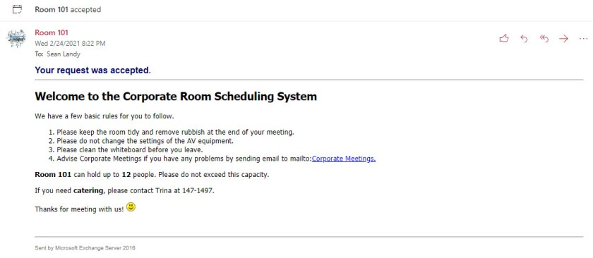 Including helpful hints in the automatic response for a calendar room booking
