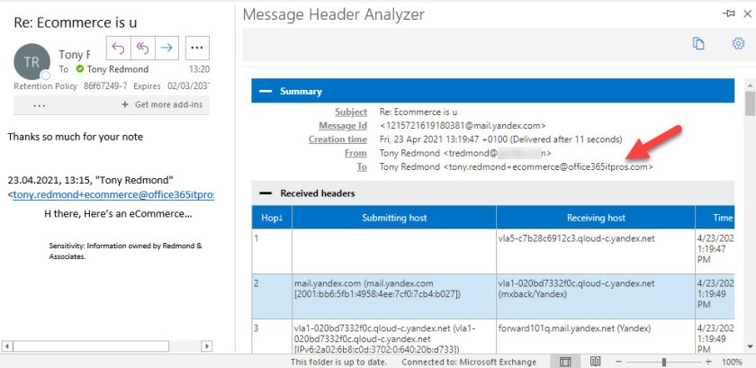 Message headers for a response show the use of a proxy address
