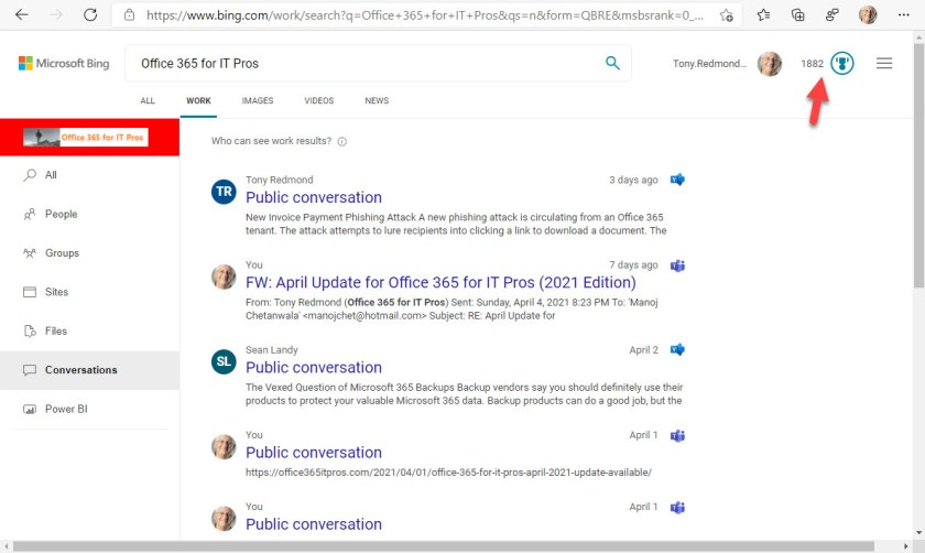 Microsoft Search features Office 365 information in Bing results
