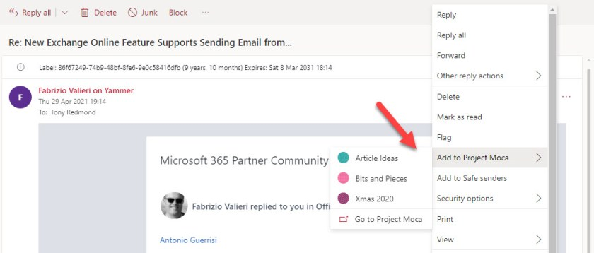 OWA can add an email to a Project Moca board