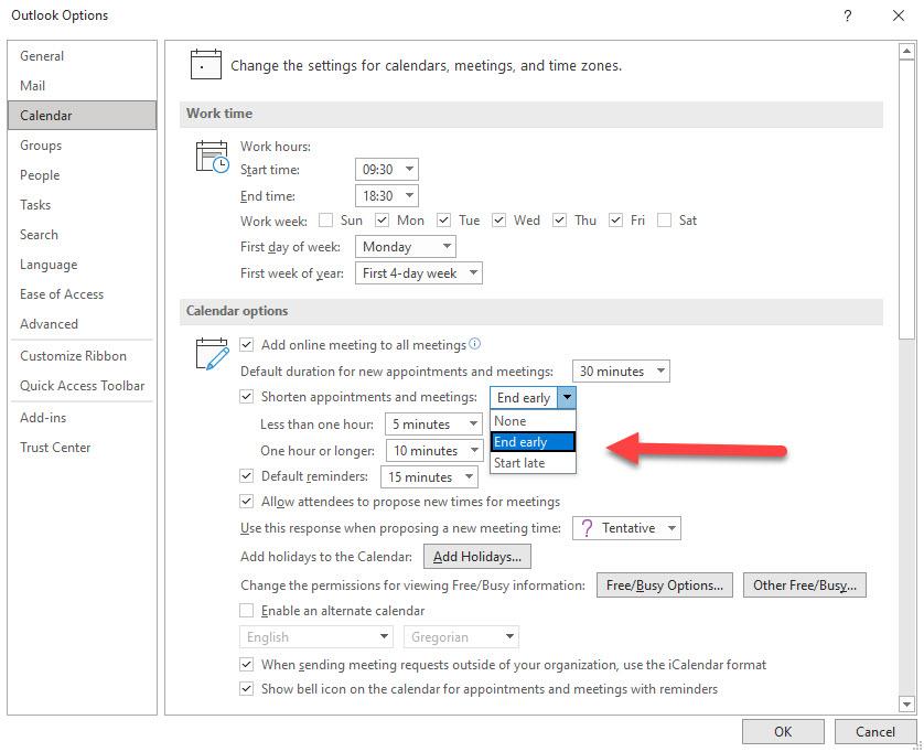 Outlook for Windows calendar options