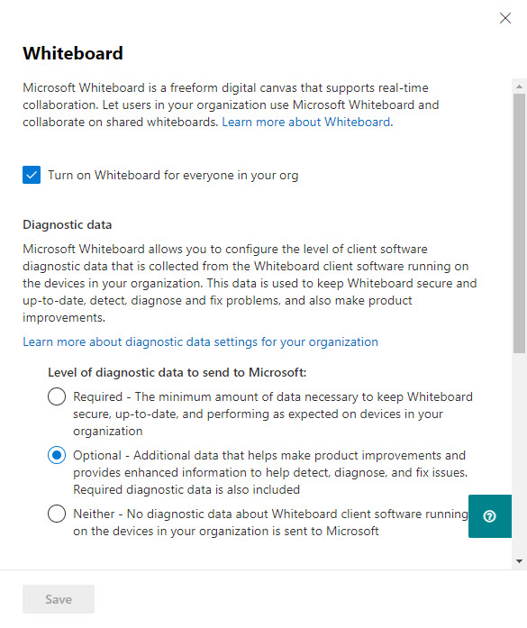 Enable or disable Whiteboard in the Microsoft 365 admin center