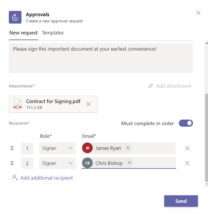 Specifying signers for the approval request