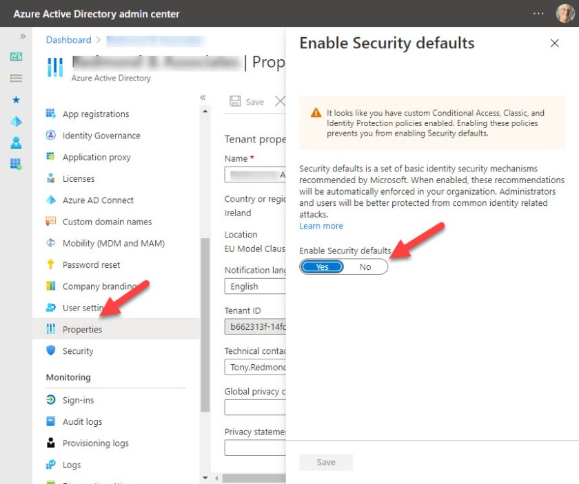 Enabling Azure AD Security Defaults