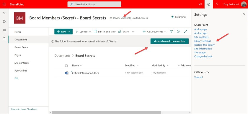 The layout for a SharePoint document library used by a Teams private channel