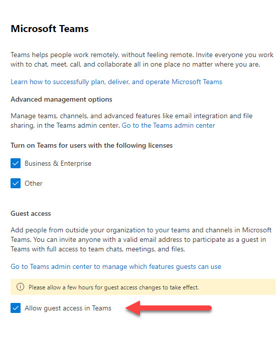Setting to control guest access to Teams in the Microsoft 365 admin center