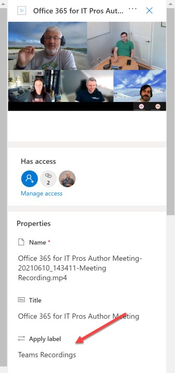 A Teams meeting recording stored in OneDrive for Business assigned a retention label