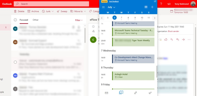 The Outlook extension displays the calendar in OWA