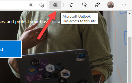 Outlook icon in the Edge browser menu