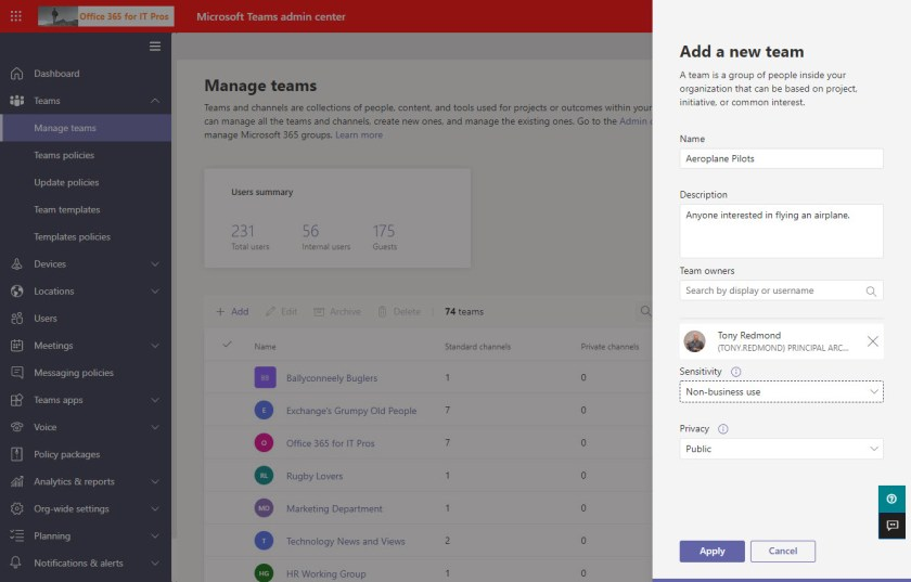 New teams created in the Teams admin center are visible to Exchange clients