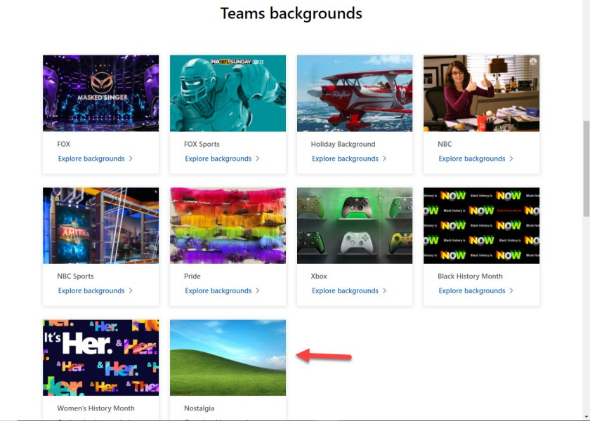 Sets of Teams background images available in the Microsoft gallery
