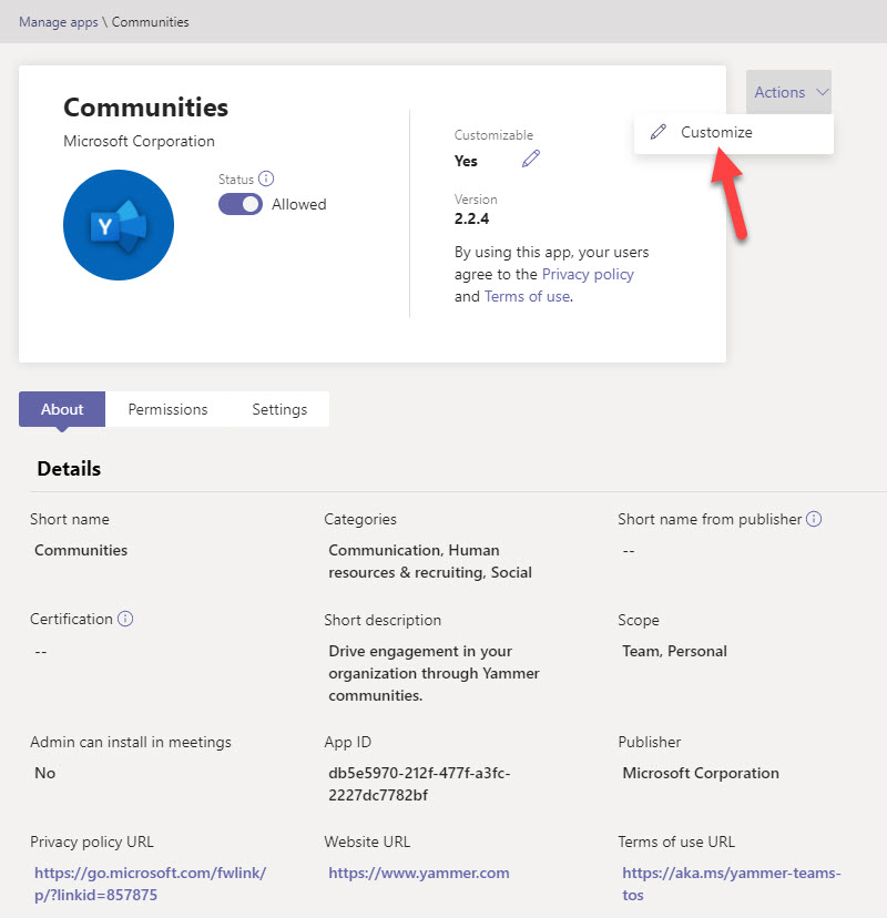 The properties of the customizable Communities (Yammer) app