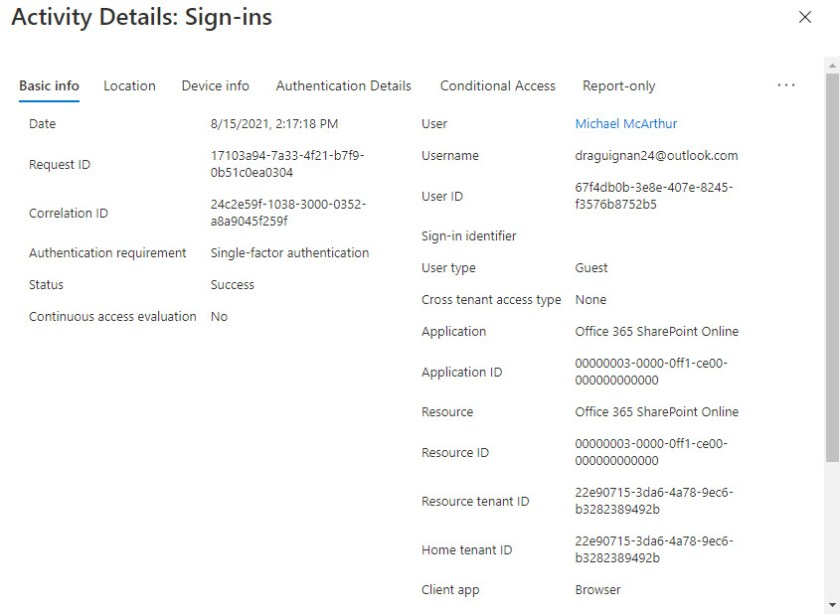 An Azure AD audit record for a guest account sign-in to access a shared file