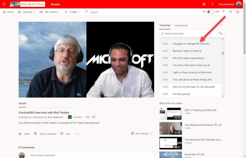 The automatic transcript shows alongside a video playing in Stream