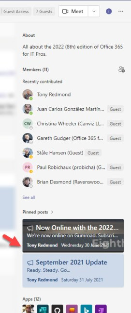 Pinned conversations shown in a Teams channel information pane
