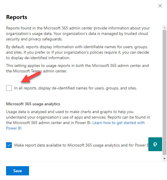 The tenant-wide setting controlling anonymization of user information in usage reports