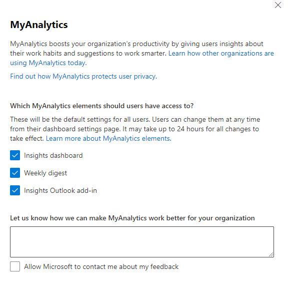 MyAnalytics tenant settings in the Microsoft 365 admin center