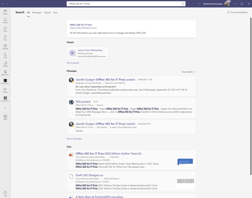 The new way to present Teams search results