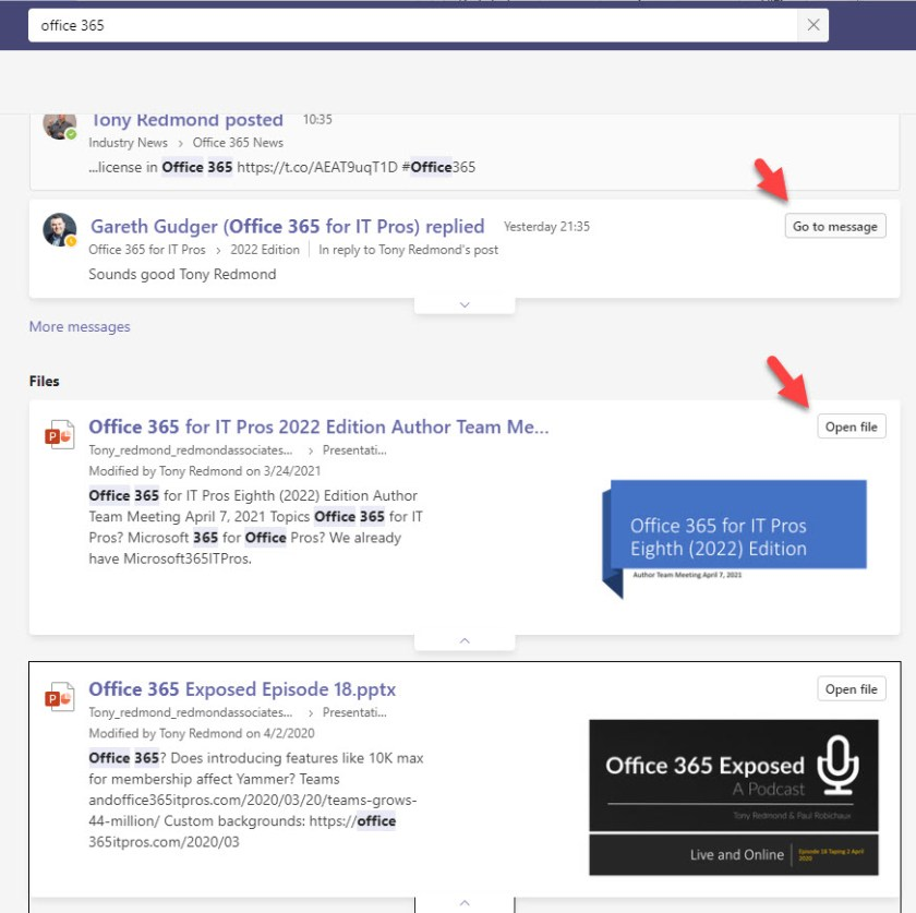 Previews and actionable buttons for Teams messages and files in search results