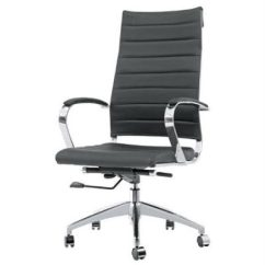 Desk Chair With Wheels Office Exercise Equipment At Work Sopada High Back Black Leather Polished Frame Brand New