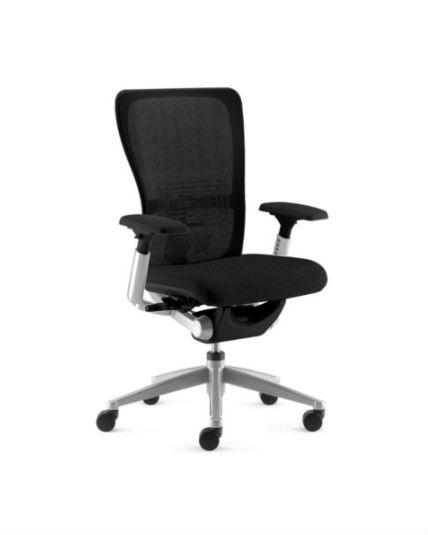 Haworth Zody Chair Polished Aluminum Frame Black Leather