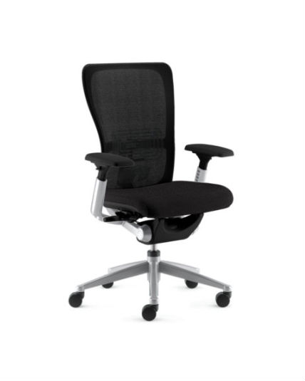 lumbar support office chair cast iron haworth zody polished aluminum frame black leather