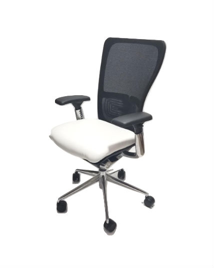 haworth zody chair upside down on table polished aluminum frame white leather