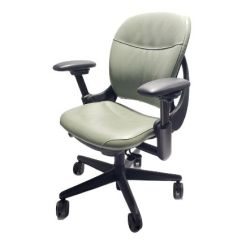 Steelcase Chair Splat Tapered Back Windsor Leap Classic Mint Green Leather All Features 4