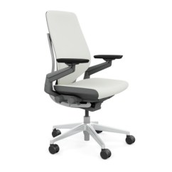 Steelcase Gesture Chair White Wood Office Leather All Features 4 Way Arms