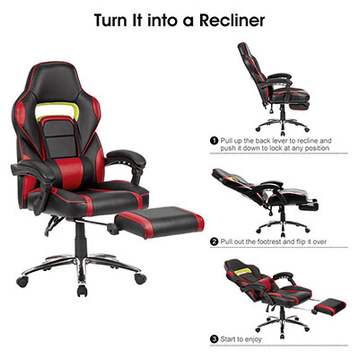 ergonomic chair with leg rest pull out bed ottoman 10 best gaming chairs footrest for gamers 2018 selection 7 langria faux leather racing