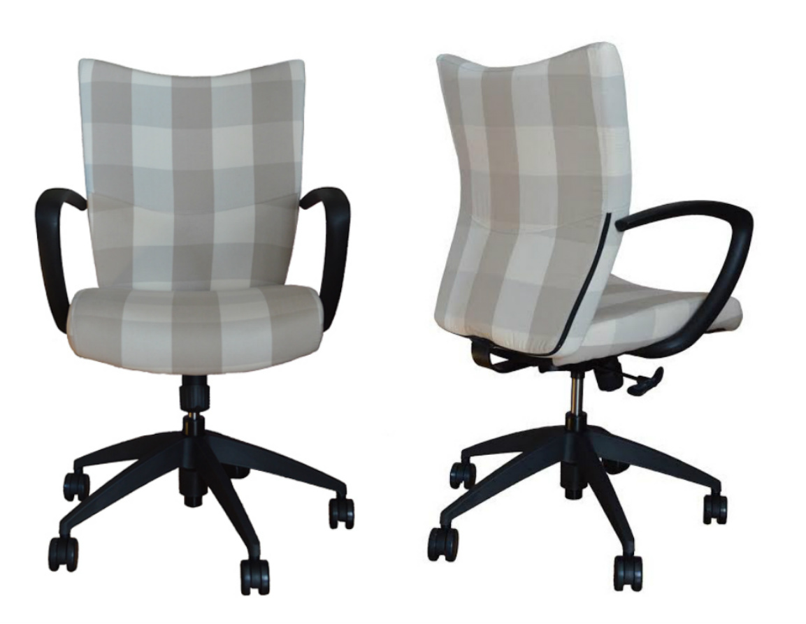 Desk Chair Upholstered in Check Fabric  Office Chairs