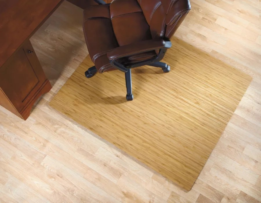 rolling chair mat for wood floors plush rocking cushions realspace bamboo roll up 48 x 52 natural office depot