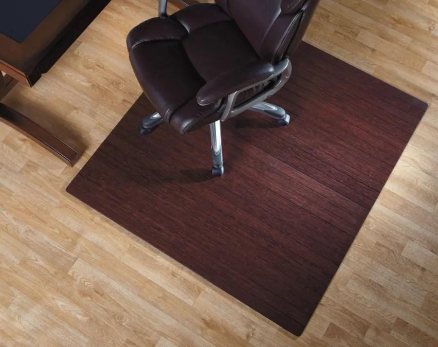 bamboo chair mat ergonomic knee realspace roll up 48 x 52 dark cherry office depot