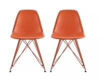 DHP Mid Century Modern Molded Chairs OrangeOrange Set Of 2 ...