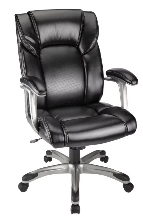 realspace fosner high back bonded leather chair what s the fic salsbury black office depot