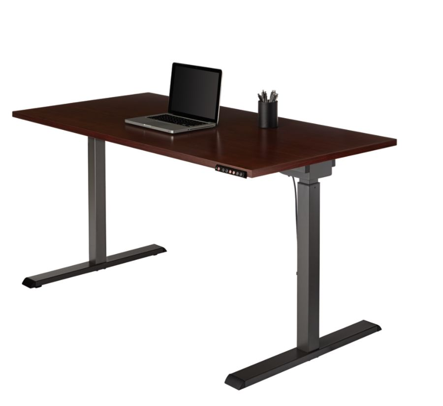 Realspace Magellan Sit Stand Desk Cherry  Office Depot