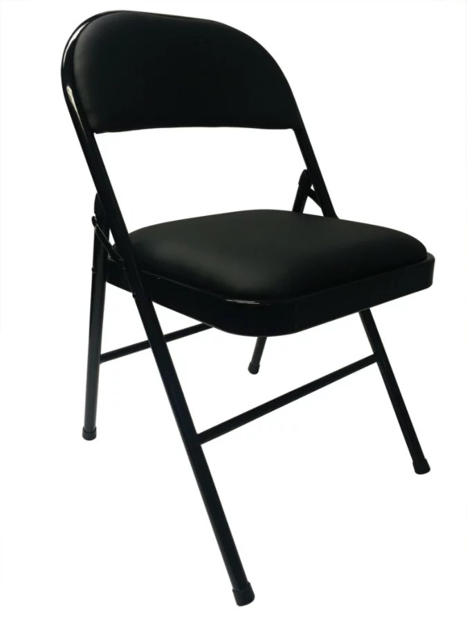 cushioned folding chairs adjustable armrest office chair realspace vinyl padded 29 34 h x 18 12 w 19 58 d 3 4 1 2 5 8 black item 254901