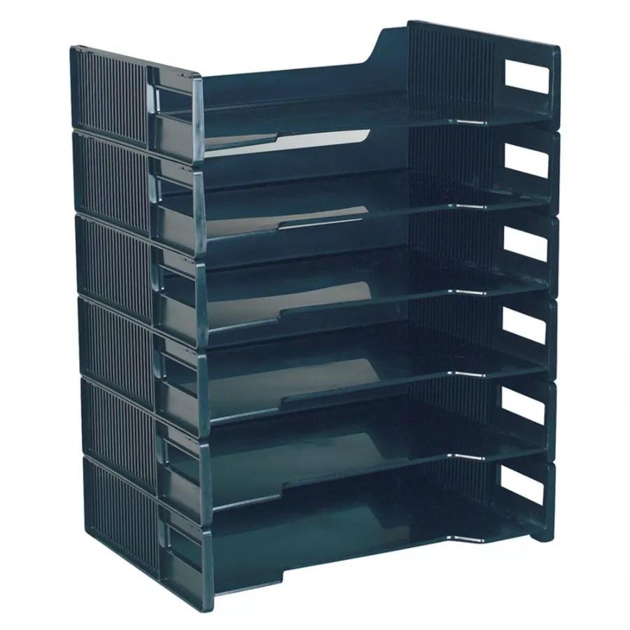 Innovative Stackable Letter Tray Black 6 Pk  Office Depot