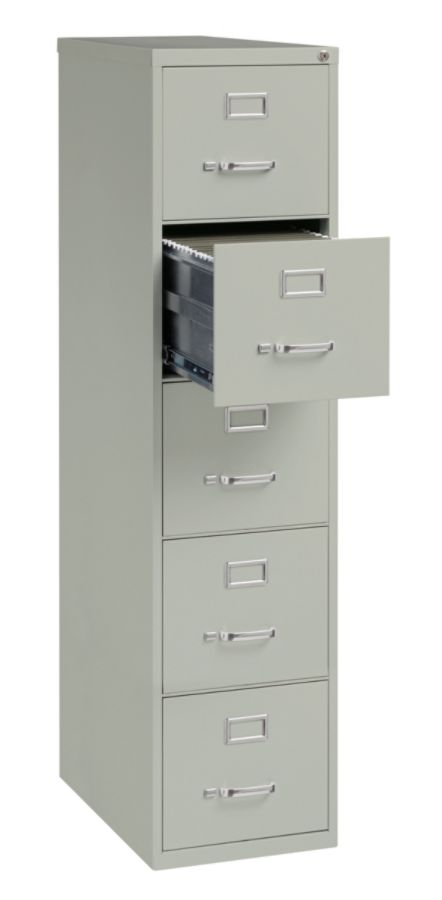 WorkPro 26 12 D 5 Drawer Letter Size Vertical File Cabinet Light Gray  Office Depot