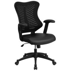 High Backed Chair Wide Office Flash Furniture Designer Meshleather Back Black Mesh Leather