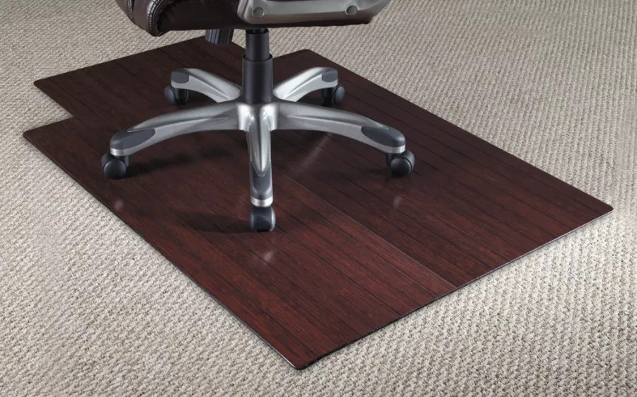 bamboo chair mat contemporary dining room chairs uk realspace 36 w x 48 d 316 thick dark cherry 3