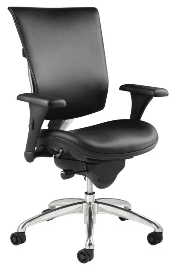 WorkPro 768E Commercial Leather High Back Chair Black