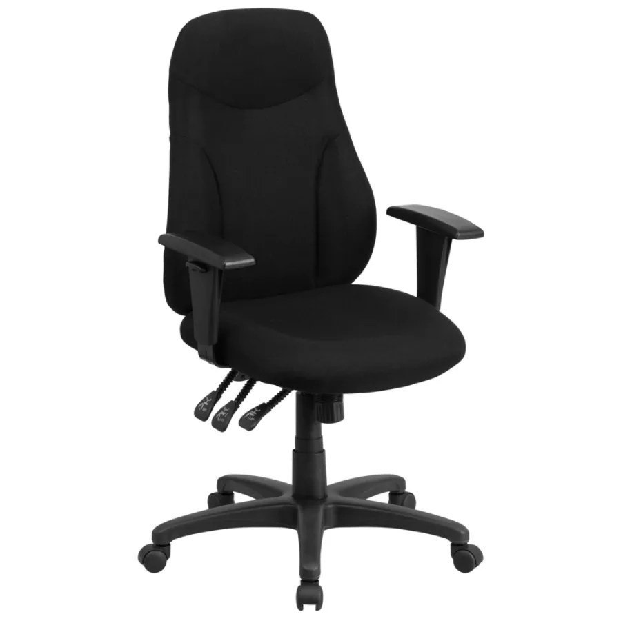 office chair with adjustable arms hampton bay chairs flash furniture fabric high back multifunctional ergonomic swivel armrests black depot