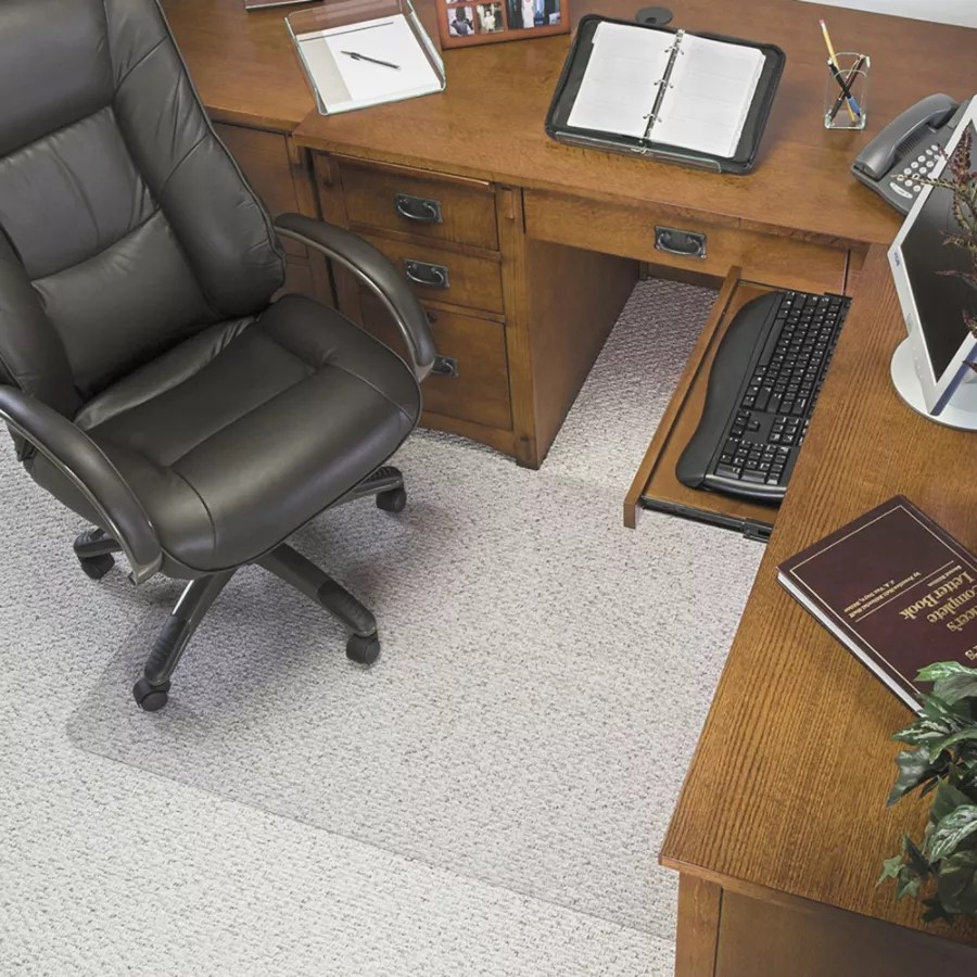 clear chair mat humanscale deflecto glass for low pile carpets with lip 45 x 53