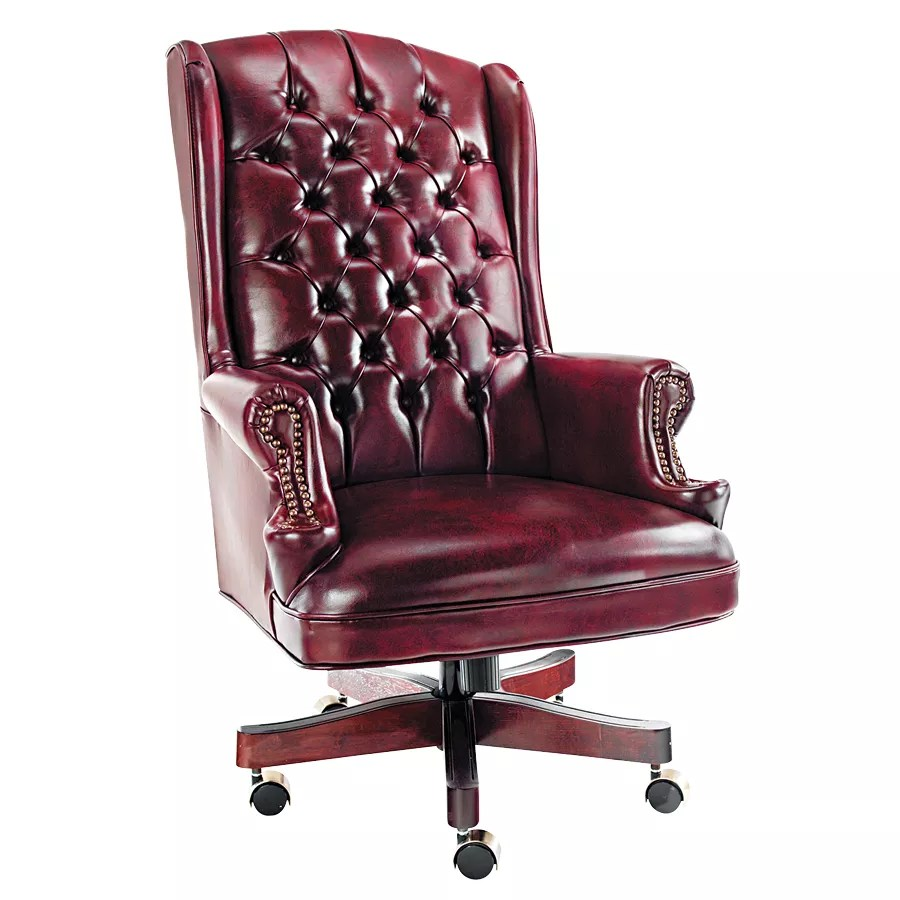oxblood leather wing chair swivel in spanish alera traditional back executive 47 h x 19 w 17 34 d